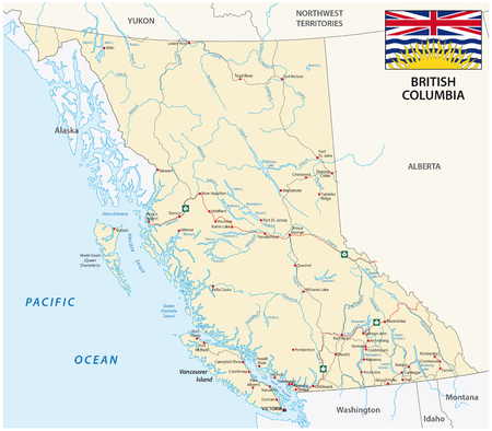 columbia: British Columbia road map with flag