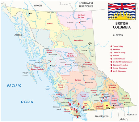 vancouver: British Columbia administrative map with flag