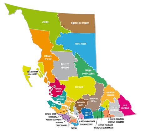 British Columbia colorful administrative map