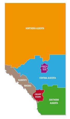 Alberta kleurrijke administratieve kaart