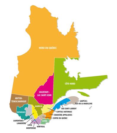 administrativo: Mapa administrativo colorido Quebec