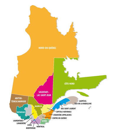 quebec: Quebec colorful administrative map