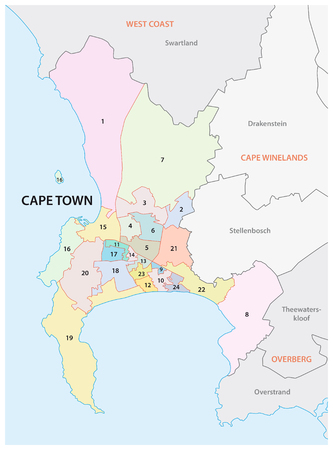 cape town: Cape Town sub council map Illustration