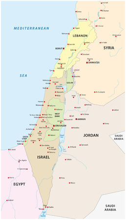 Israel and Lebanon map Vettoriali