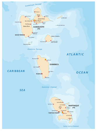 antilles: Guadeloupe and Martinique Dominica map