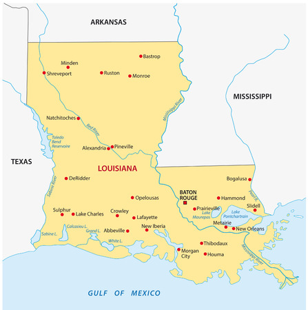 Simple louisiana state map Иллюстрация