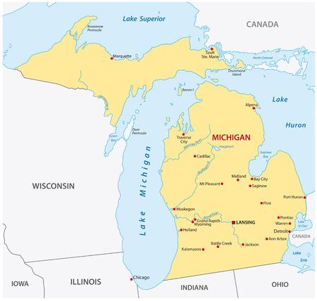 Simple michigan state map Stock Illustratie