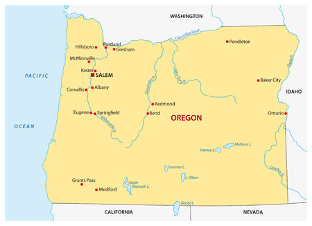 state of oregon: Simple oregon state map Illustration
