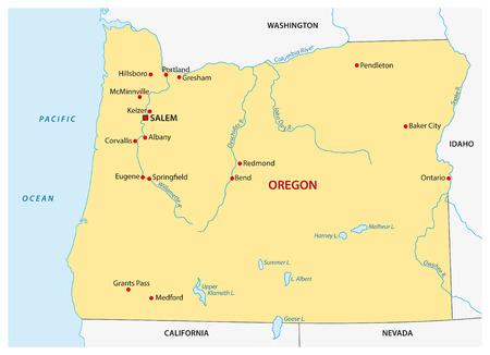 Simple oregon state map 矢量图像