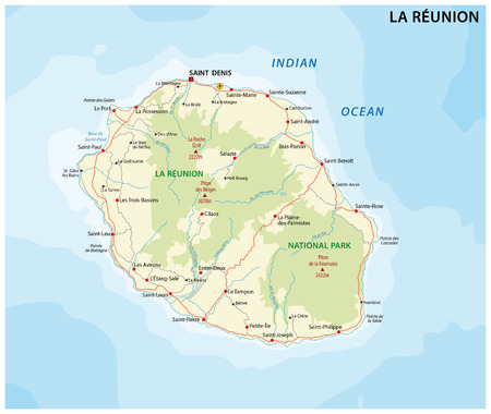 national park: La Reunion Road and National Park map