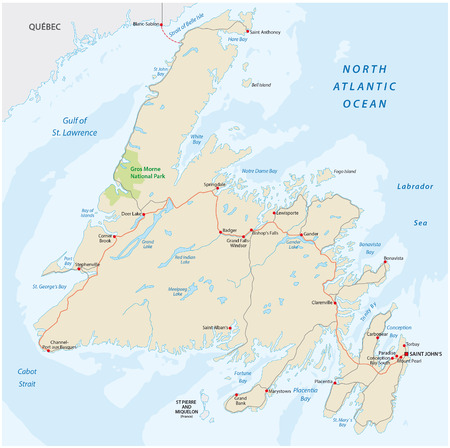Newfoundland road map