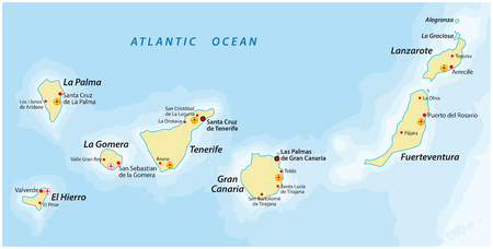 Canarische Eilanden kaart Vector Illustratie