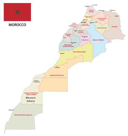 administrativo: mapa administrativo Marruecos con la bandera