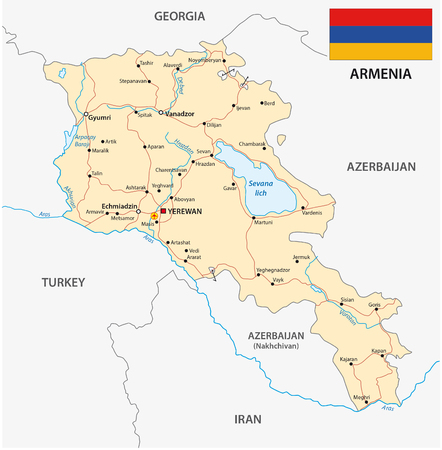 map of armenia: Armenia road map with flag