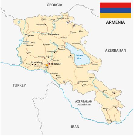 yerevan: Armenia road map with flag
