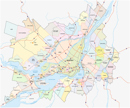 quebec city: Greater Montreal administrative map