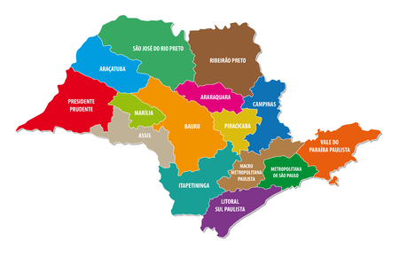 Sao Paulo state administrative colorful map