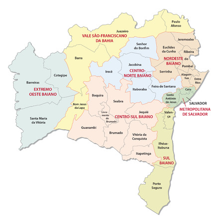 administrative: bahia colorful administrative map