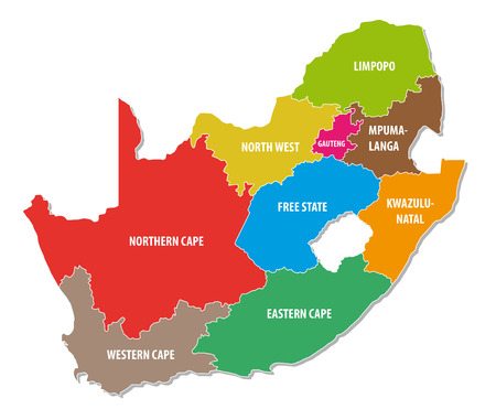 south africa map: south africa colorful administrative map Illustration