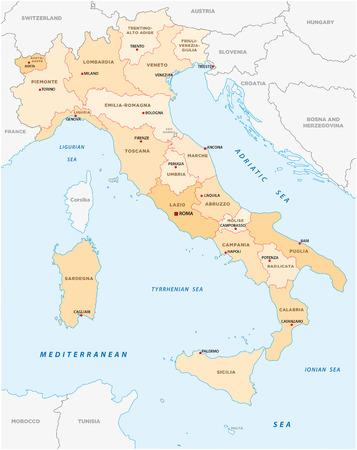WŁOCHY Mapa administracyjna Ilustracje wektorowe