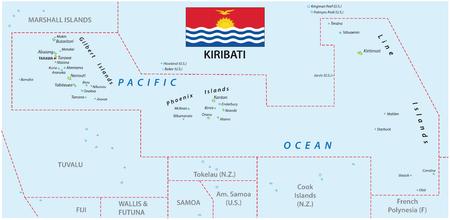 kiribati: Kiribati map with flag