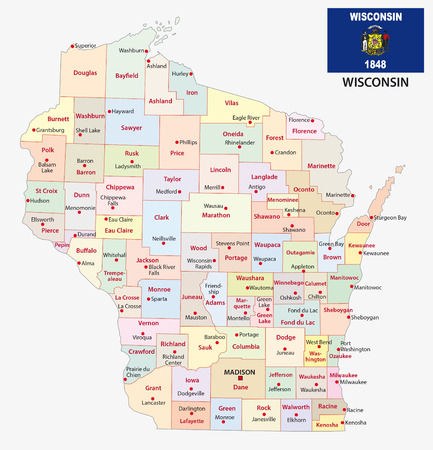 wisconsin flag: wisconsin administrative map with flag