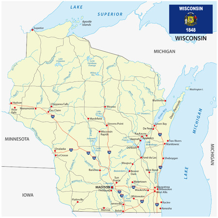wisconsin flag: wisconsin road map with flag Illustration
