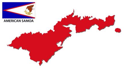 oceania: American Samoa map with flag