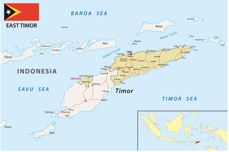 east: East Timor road map with flag Illustration