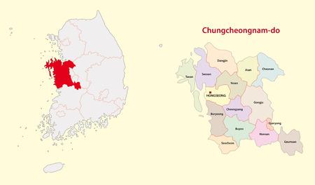 South Korea North Chungcheong Province map south 일러스트