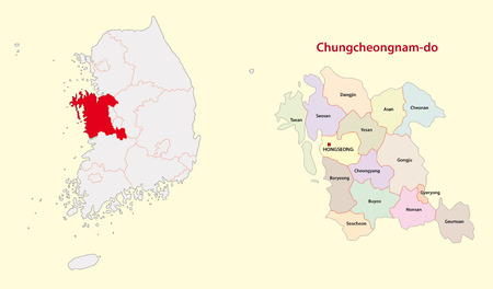 South Korea North Chungcheong Province map south Vettoriali