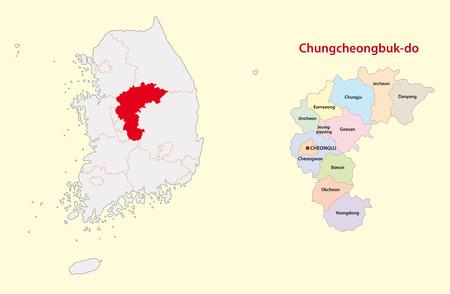 South Korea North Chungcheongnam Province map Vectores