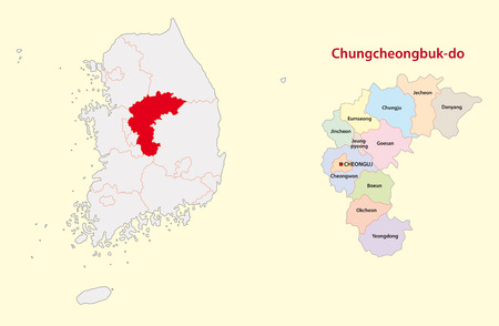 South Korea North Chungcheongnam Province map Illustration