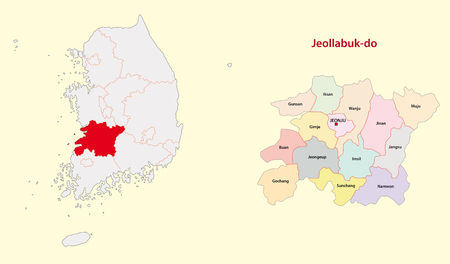South Korea North Jeolla Province map