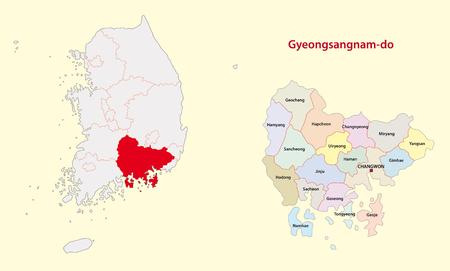 Korea South Gyeongsang Province map south Vettoriali