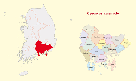 Korea South Gyeongsang Province map south Vectores