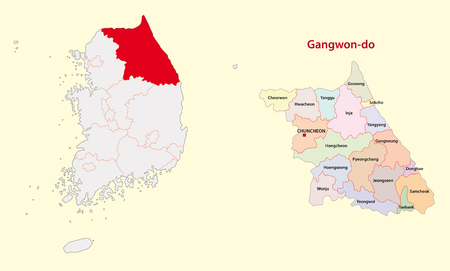 South Korea North Gangwon Province map Illustration
