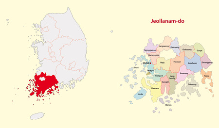 South Korea North Jeolla Province map south