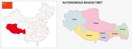 region: Tibet Autonomous Region administrative map