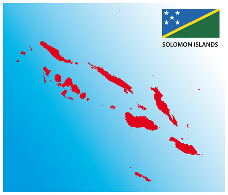 archipelago: Solomon Islands map with flag