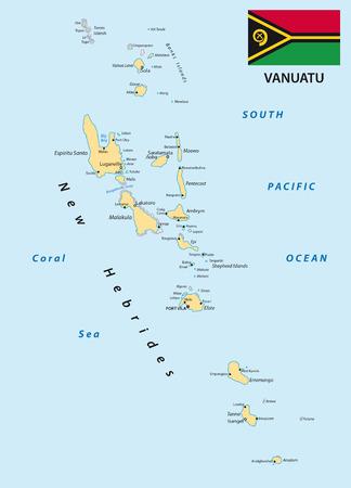 archipelago: Vanuatu map with flag