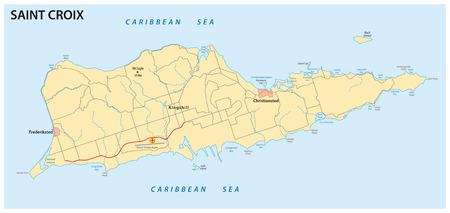 and saint: Saint Croix map Illustration