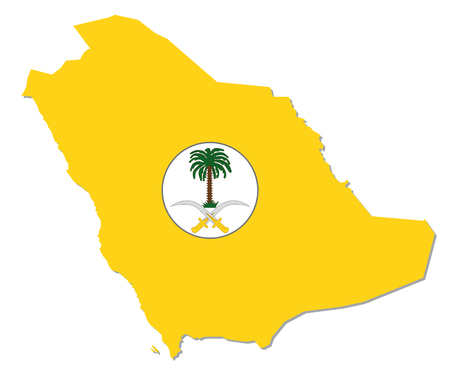 aristocracy: Saudi Arabia map with coat of arms Illustration