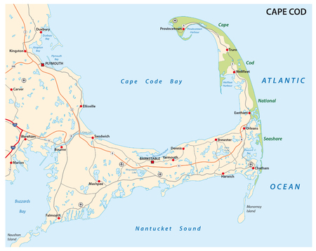 cape cod road map Stock fotó - 48102732