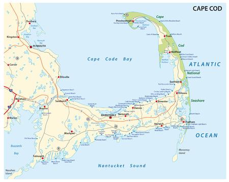 ケープコッドの道路やビーチの地図