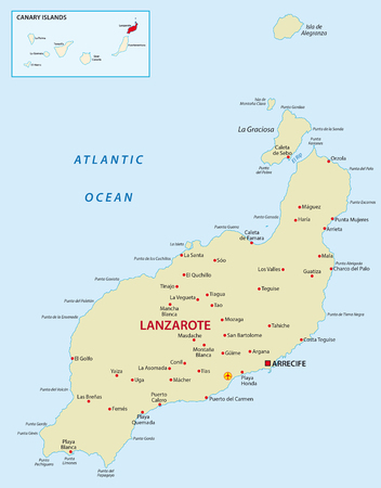 canary islands: Lanzarote with overview map
