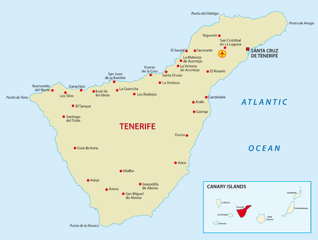 canary islands: Tenerife with overview map