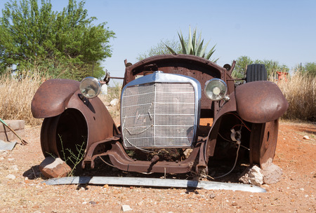 corroding: Abandoned car in Namibia Stock Photo