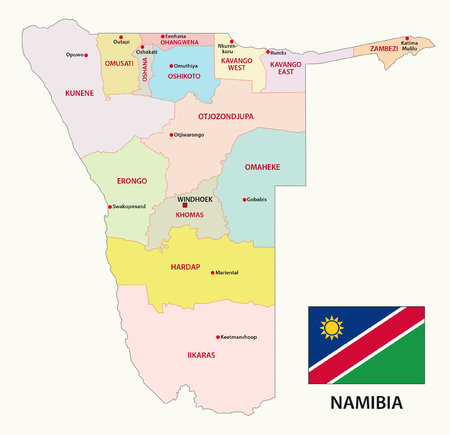 administrative: Namibia administrative map with flag Illustration