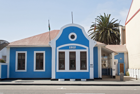 colonial house: Blue House from 1912 in colonial architecture Swakopmund, Namibia